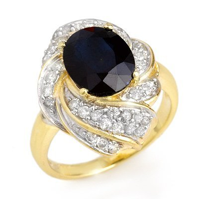 Genuine 3.85 ctw Sapphire & Diamond Ring 14K Yellow Gol