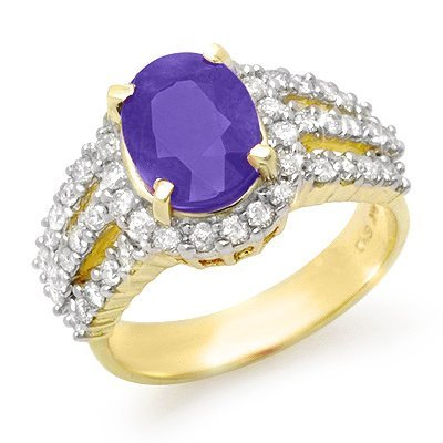 Genuine 4.75ctw Tanzanite & Diamond Ring 14K Yellow Gol