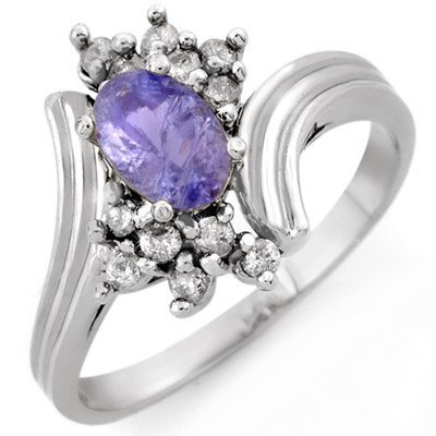 Genuine 1.0 ctw Tanzanite & Diamond Ring 10K White Gold