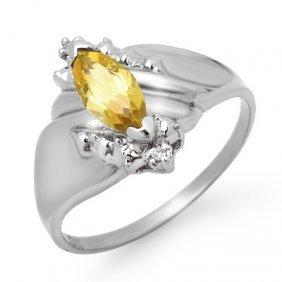 Genuine 0.52 Ctw Citrine & Diamond Ring 10K White Gold