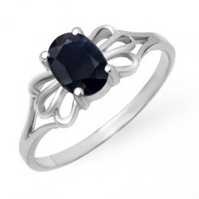Genuine 1.10 Ctw Sapphire Ring 10K White Gold