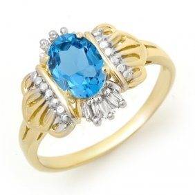 Genuine 0.97 Ctw Blue Topaz & Diamond Ring 10K Gold