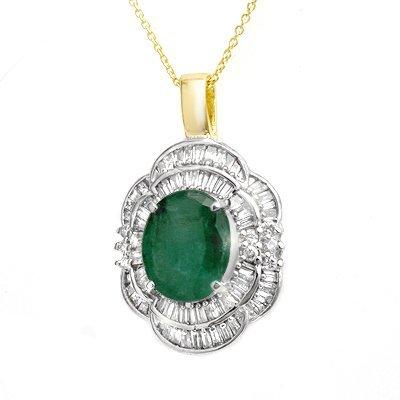 Genuine 4.60 ctw Emerald & Diamond Pendant Yellow Gold