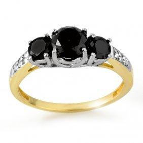 Natural 1.70 Ctw Black Diamond Ring 14K Multi Tone Gold
