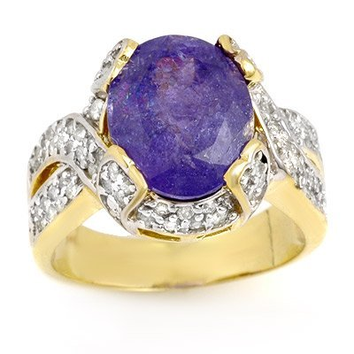 Genuine 6 ctw Tanzanite & Diamond Ring 14k Gold