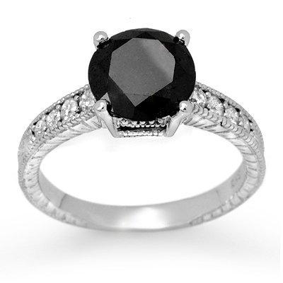 Natural 3.0 ctw White & Black Diamond Ring 14K Gold