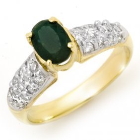 Genuine 1.50 Ctw Emerald & Diamond Ring 10K Yellow Gold