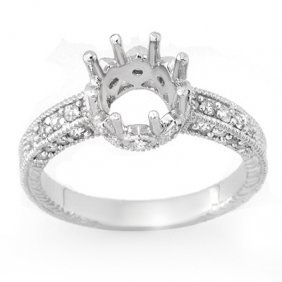 Natural 0.50 Ctw Diamond Semi-mount Ring 14K White Gold