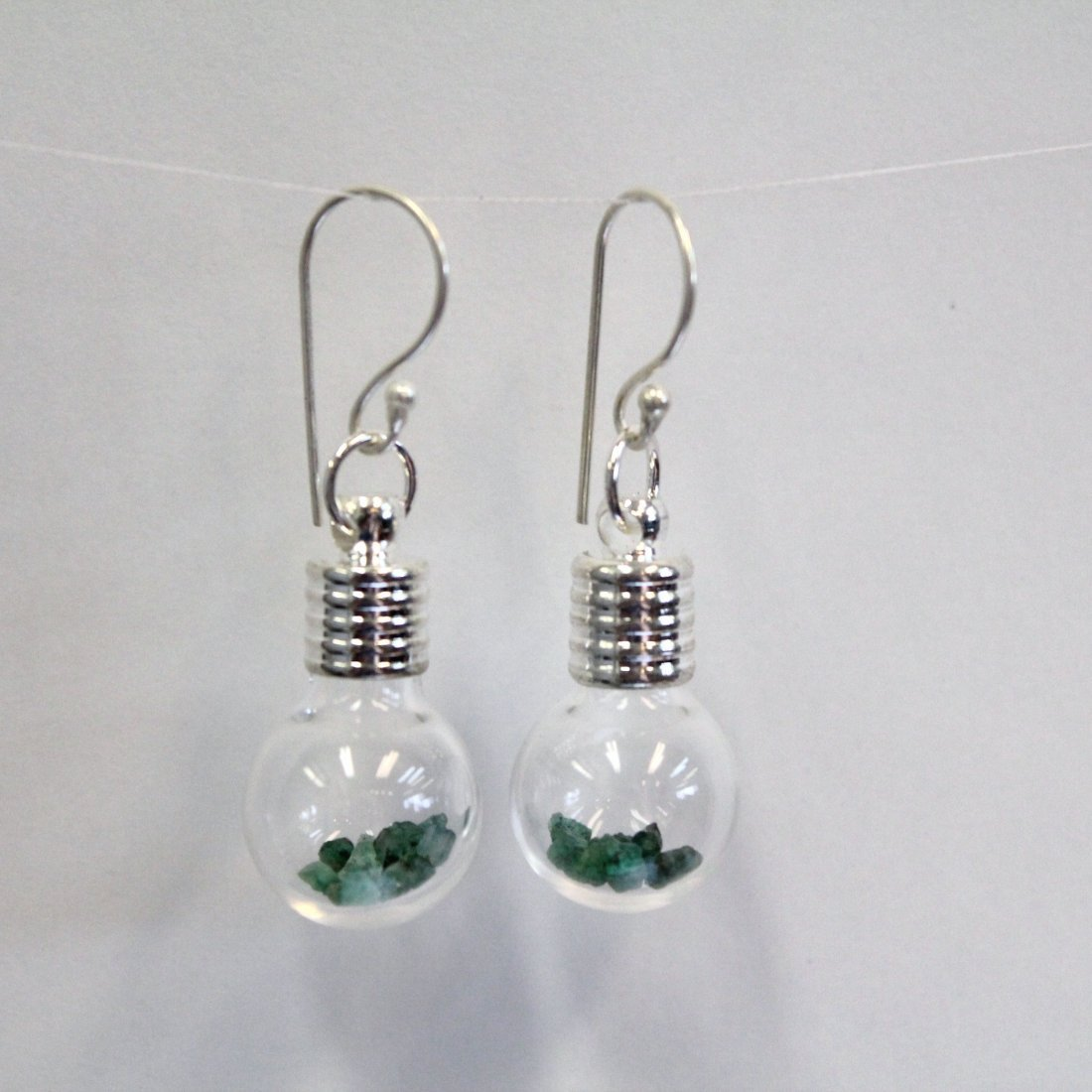 Round Glass Earrings with 2ct Natural Uncut Emerald fro