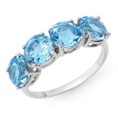 Genuine 3.66 ctw Blue Topaz Ring 10K White Gold