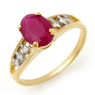 Genuine 1.70 ctw Ruby & Diamond Ring 10K Yellow Gold