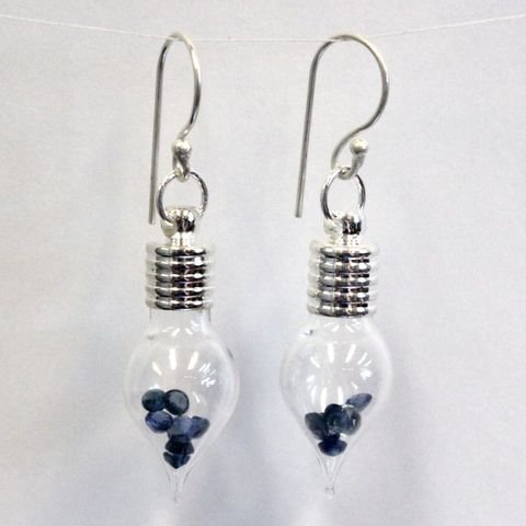 Teardrop Glass Earrings with 2ct Natural Sapphire from