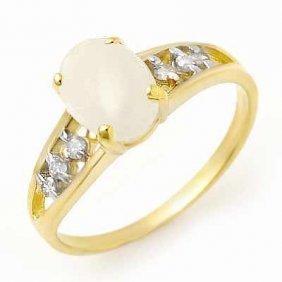 Genuine 0.95 Ctw Opal & Diamond Ring 10K Yellow Gold