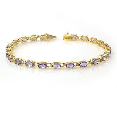 Genuine 5.0 ctw Tanzanite Bracelet 10K Yellow Gold