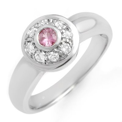 Genuine 0.35 ctw Pink Sapphire & Diamond Ring 14K Gold