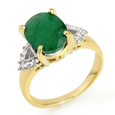 Genuine 4.24 ctw Emerald & Diamond Ring 10K Yellow Gold