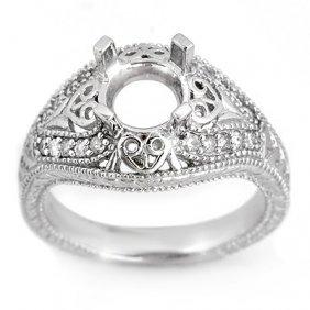 Natural 0.33 Ctw Diamond Semi-mount Ring 14K White Gold