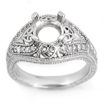 Natural 0.33 ctw Diamond Semi-mount Ring 14K White Gold