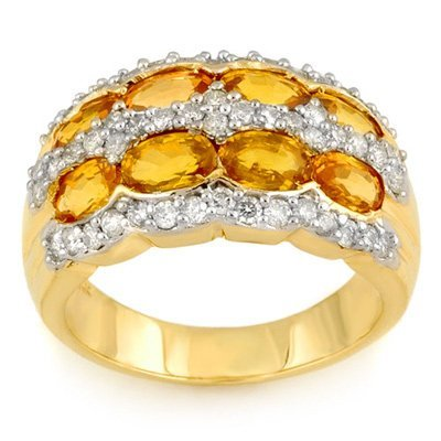 Genuine 3.75ctw Yellow Sapphire & Diamond Ring 14K Gold