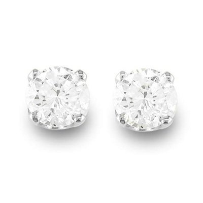Natural 0.50 ctw Diamond Stud Earrings 14K White Gold