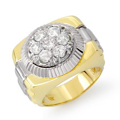 Natural 1.50 ctw Diamond Men's Ring 10K Multi tone Gold