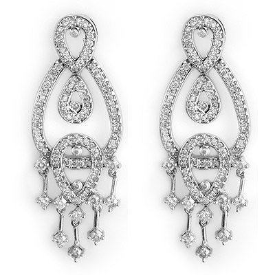 Natural 2.0 ctw Diamond Earrings 14K White Gold