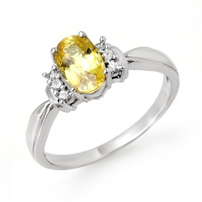 Genuine 1.40ctw Yellow Sapphire & Diamond Ring 10K Gold
