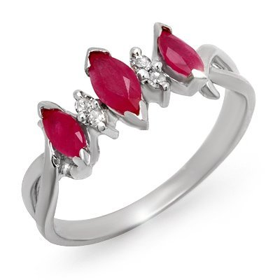 Genuine 0.57 ctw Ruby & Diamond Ring 10K White Gold