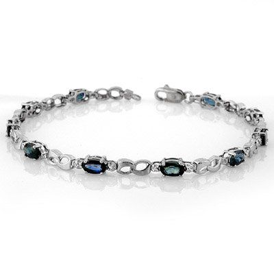 Genuine 3.51 ctw Blue Sapphire & Diamond Bracelet Gold