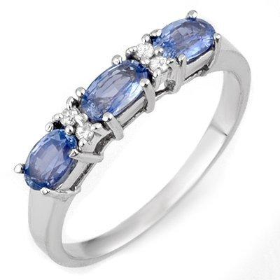 Genuine 1.33ctw Ceylon Sapphire & Diamond Ring 10K Gold
