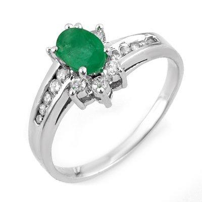 Genuine 1.03 ctw Emerald & Diamond Ring 10K White Gold