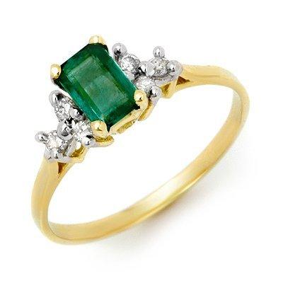 Genuine 0.74 ctw Emerald & Diamond Ring 10K Yellow Gold