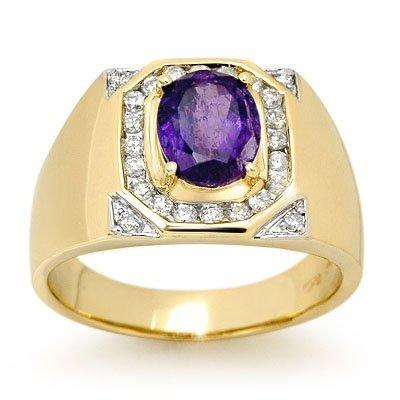 Genuine 3.1 ctw Tanzanite & Diamond Men's Ring 14K Gold