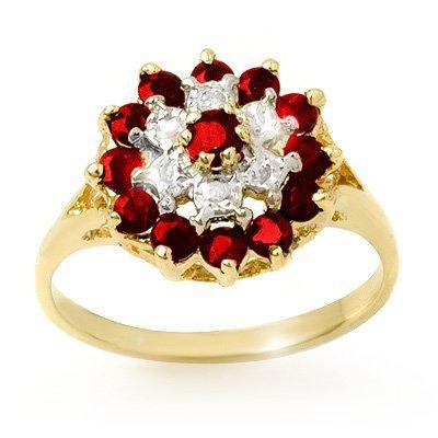 Genuine 1.12 ctw Ruby & Diamond Ring 10k Gold