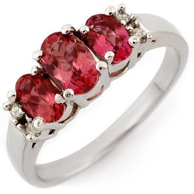 Genuine 0.92ctw Pink Tourmaline & Diamond Ring 10K Gold