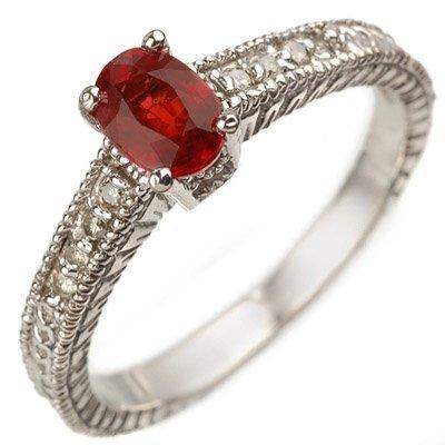 Genuine 0.86 ctw Red Sapphire & Diamond Ring 10K White