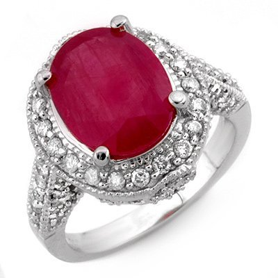 Genuine 6.0 ctw Ruby & Diamond Ring 14K White Gold