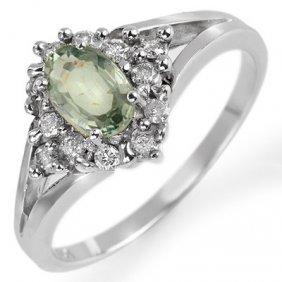 Genuine 0.95 Ctw Green Sapphire & Diamond Ring 10K Gold