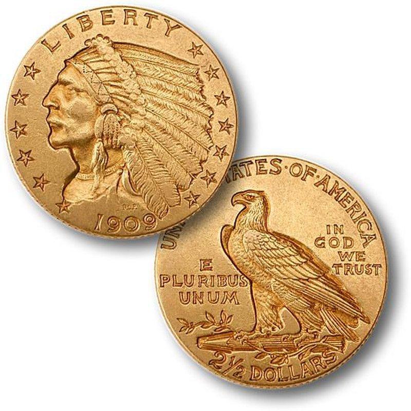 $2.5 Indian Gold - Quarter Eagles - 1908 to 1929 - Extr