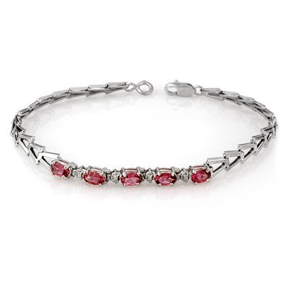 Genuine 1.50 ctw Pink Tourmaline Bracelet 10K White Gol