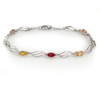 Genuine 3.02 ctw Multi-Sapphire & Diamond Bracelet Gold