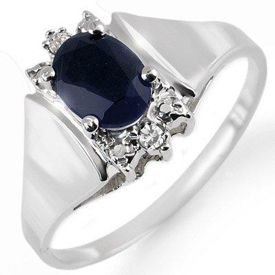 Genuine 1.43 ctw Sapphire & Diamond Ring White Gold