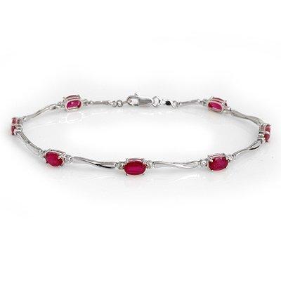 Genuine 5.02 ctw Ruby & Diamond Bracelet White Gold