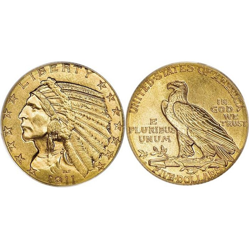 $5 Indian Gold - Half Eagle - 1908 to 1929 - Extra Fine
