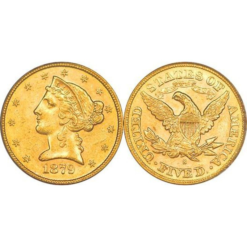 $5 Liberty Gold - Half Eagle - 1839 to 1908 - Extra Fin