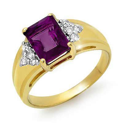 Genuine 1.45ctw Amethyst & Diamond Ring 10K Yellow Gold