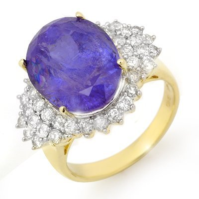 Genuine 11.25ct Tanzanite & Diamond Ring 14K Yellow Gol