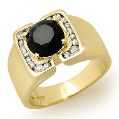 Natural 2.33 ctw Black Diamond Men's Ring 10K Yellow Go