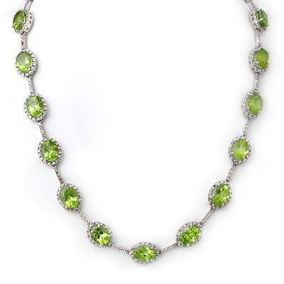 Genuine 45 ctw Peridot & Diamond Necklace White Gold