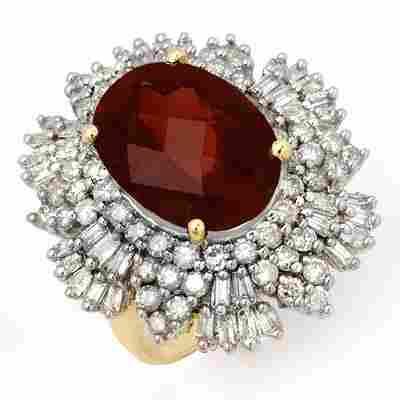 Genuine 13.25 ctw Pink Tourmaline & Diamond Ring Gold
